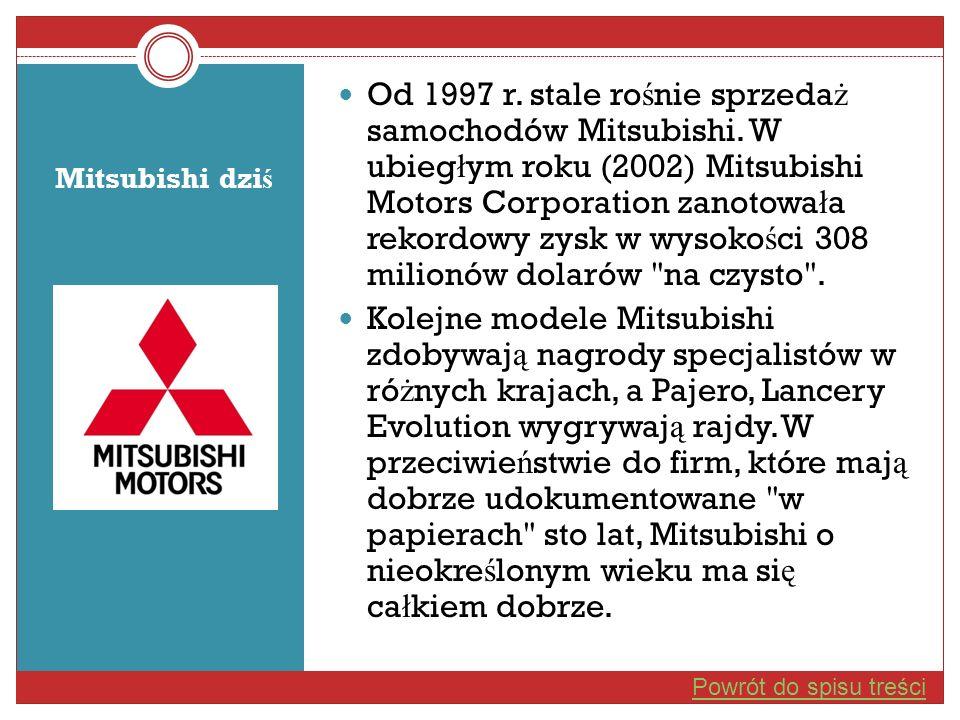 Od 1997 r. stale rośnie sprzedaż samochodów Mitsubishi