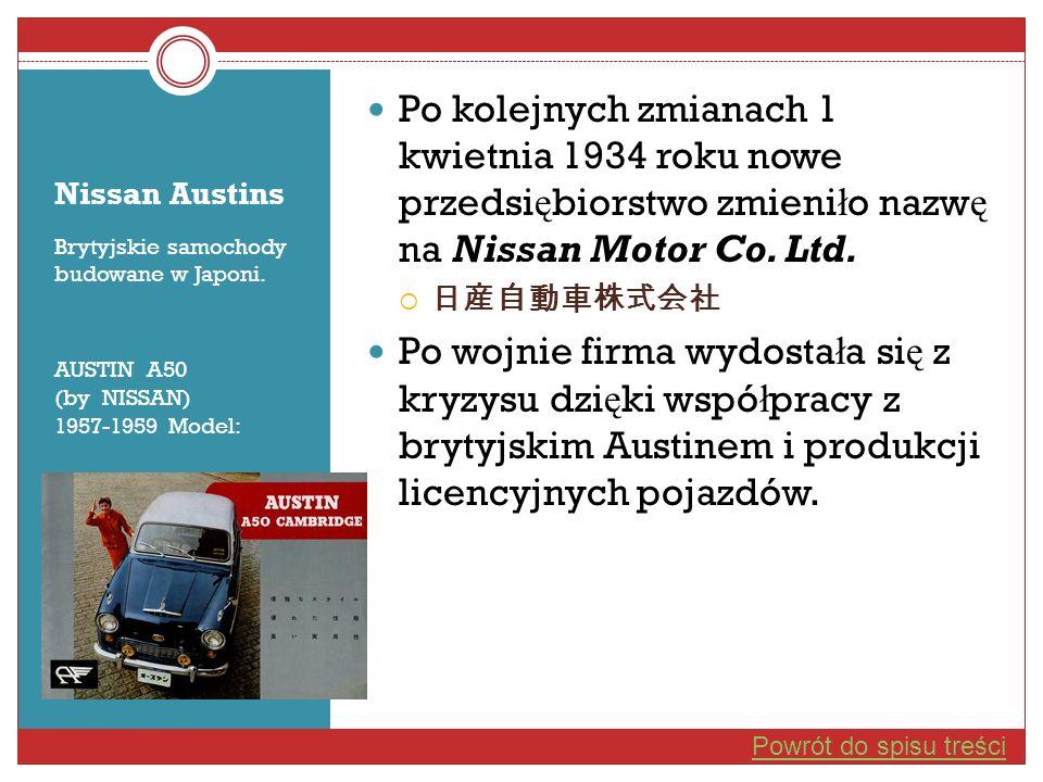 Po kolejnych zmianach 1 kwietnia 1934 roku nowe przedsiębiorstwo zmieniło nazwę na Nissan Motor Co. Ltd.