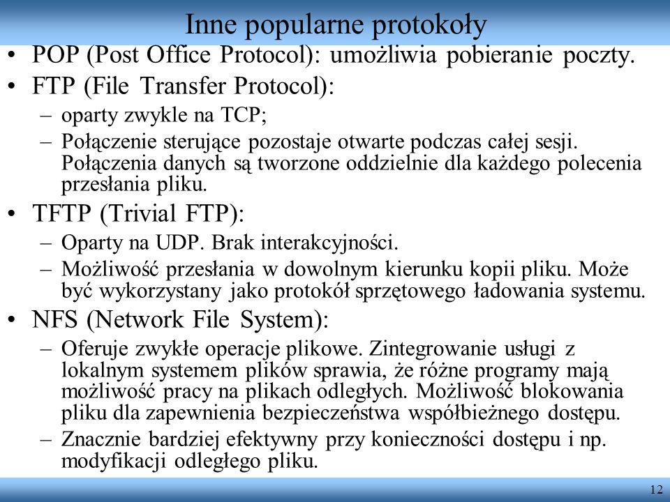 Inne popularne protokoły