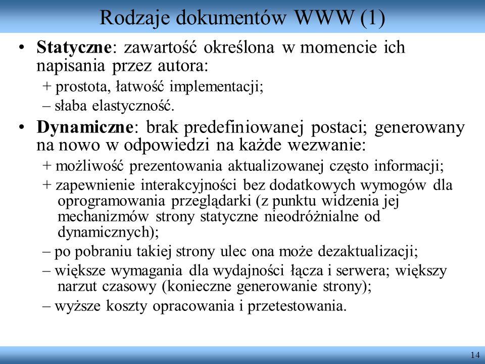Rodzaje dokumentów WWW (1)