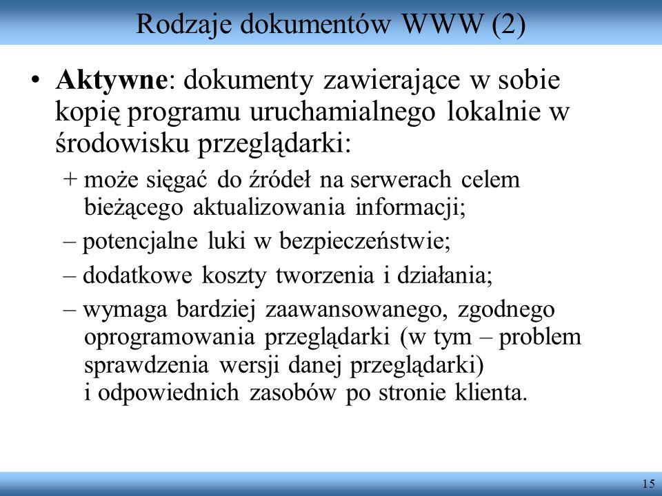 Rodzaje dokumentów WWW (2)