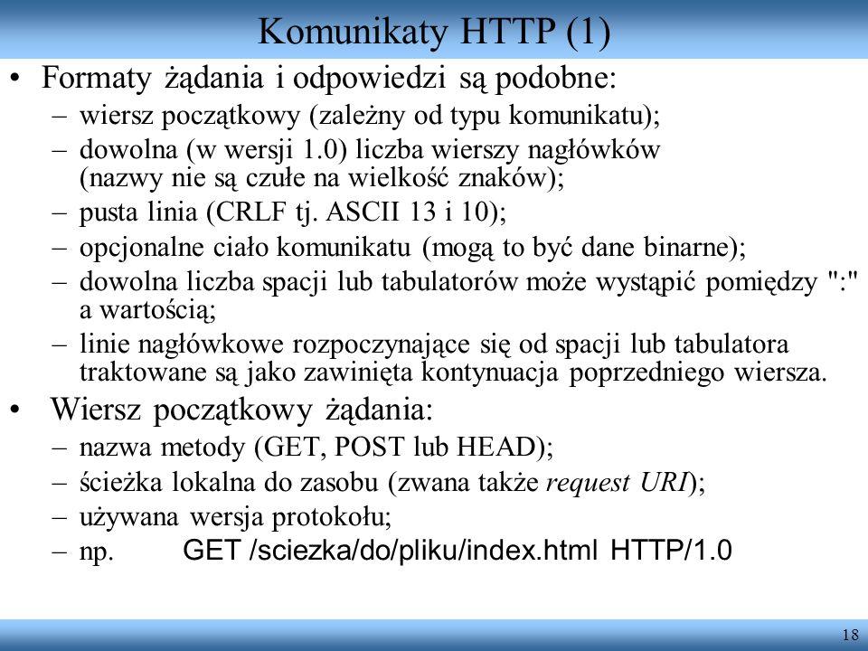 Komunikaty HTTP (1) Formaty żądania i odpowiedzi są podobne: