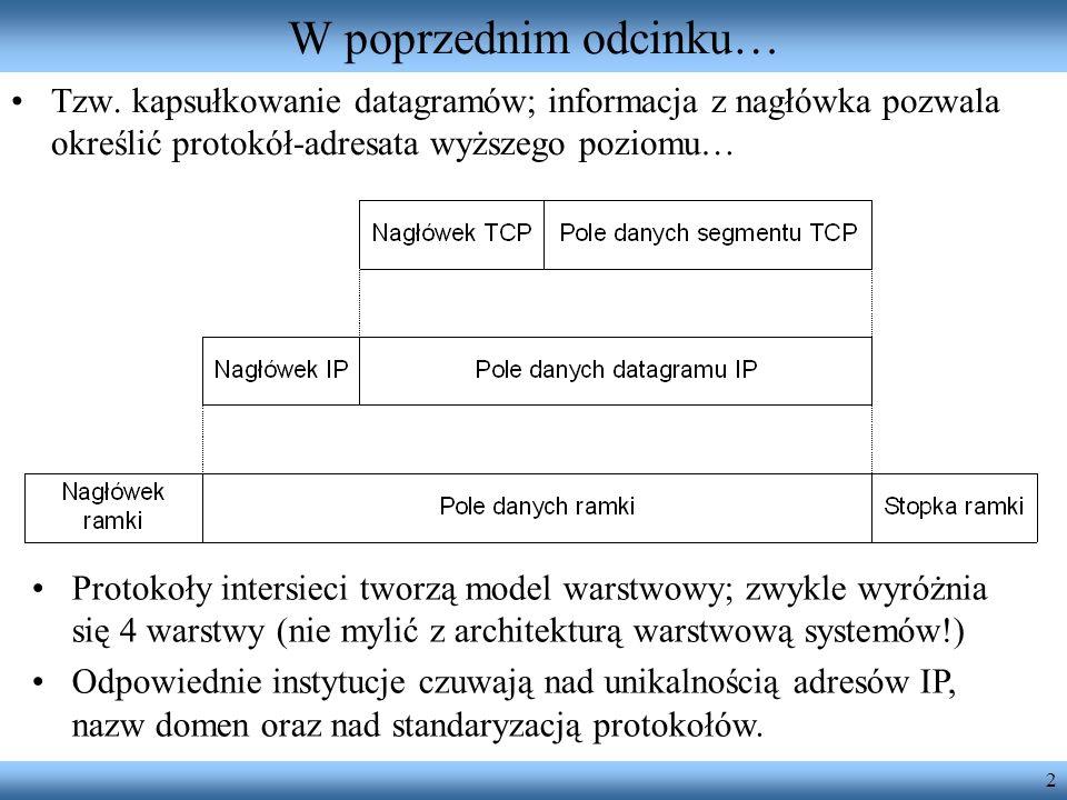 W poprzednim odcinku…Tzw. kapsułkowanie datagramów; informacja z nagłówka pozwala określić protokół-adresata wyższego poziomu…
