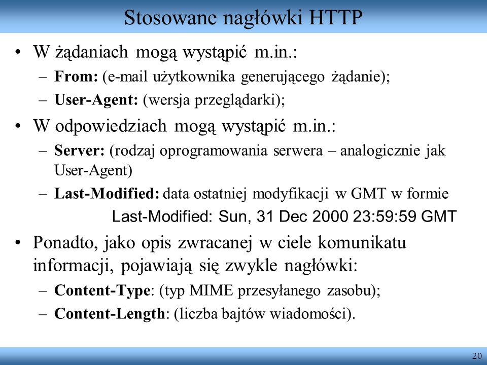 Stosowane nagłówki HTTP