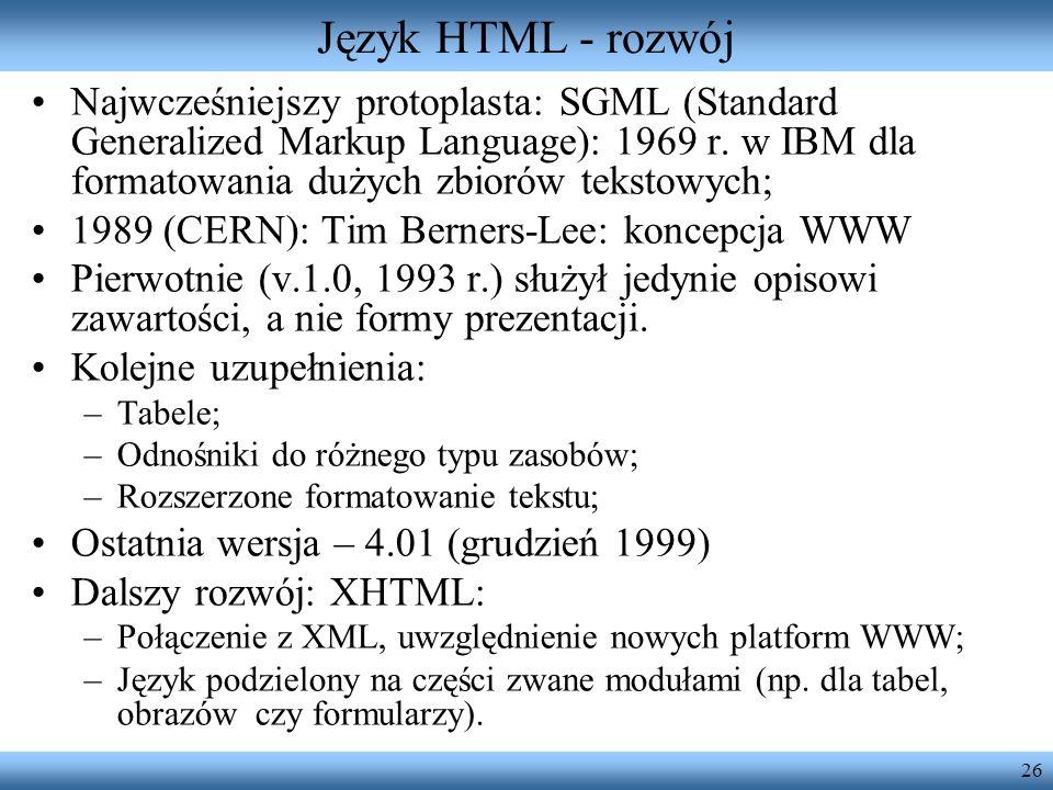 Język HTML - rozwój