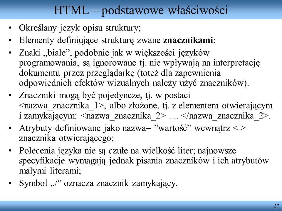 HTML – podstawowe właściwości