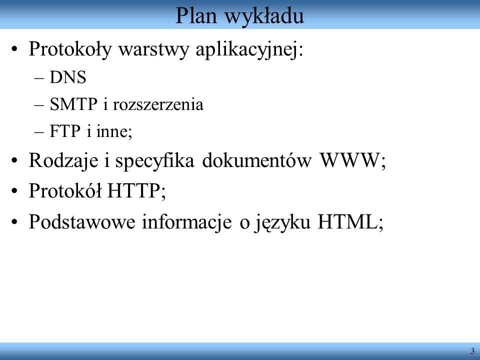 Plan wykładu Protokoły warstwy aplikacyjnej: