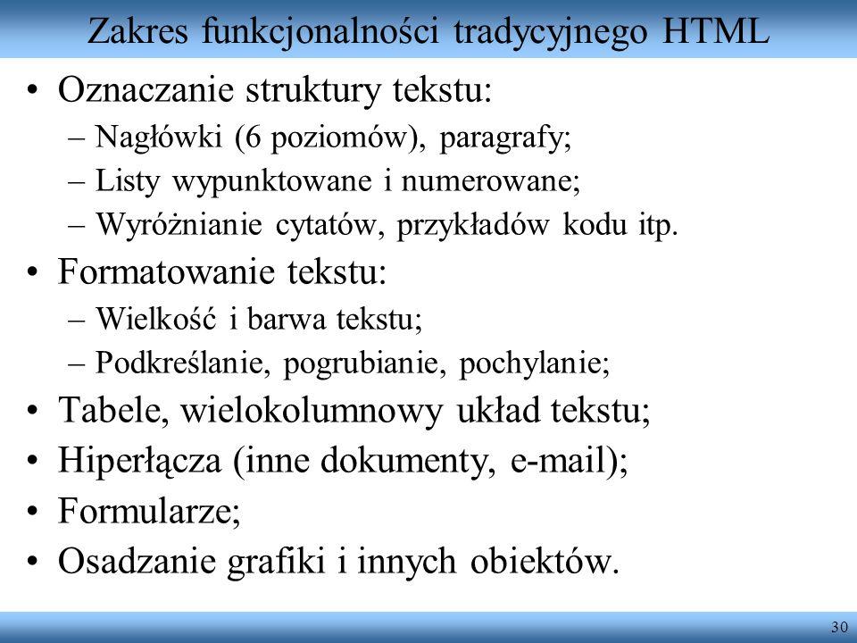 Zakres funkcjonalności tradycyjnego HTML