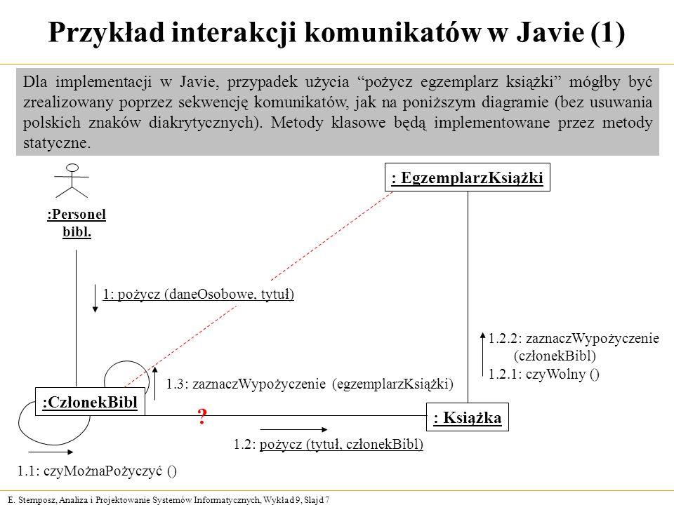 Przykład interakcji komunikatów w Javie (1)