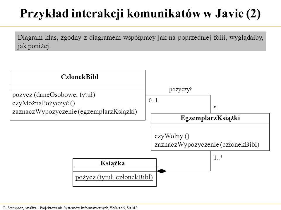 Przykład interakcji komunikatów w Javie (2)