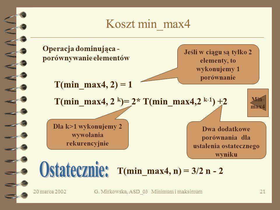 Ostatecznie: Koszt min_max4 T(min_max4, 2) = 1
