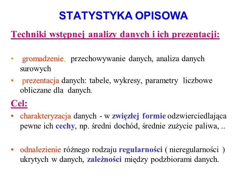 STATYSTYKA OPISOWA Techniki wstępnej analizy danych i ich prezentacji: