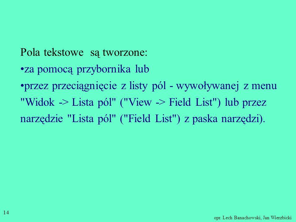 Pola tekstowe są tworzone: