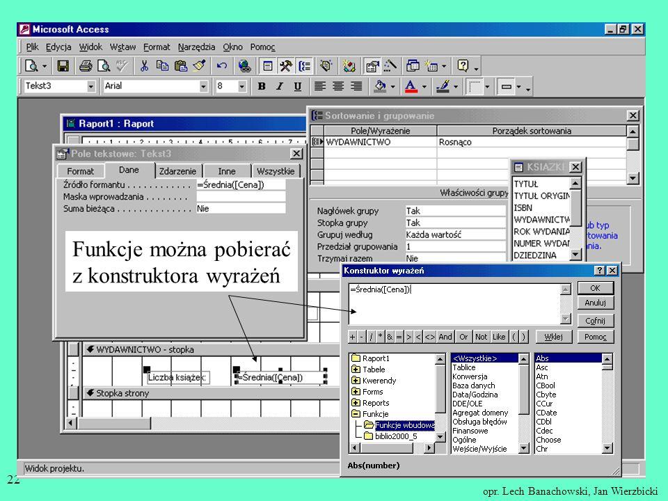Funkcje można pobierać z konstruktora wyrażeń
