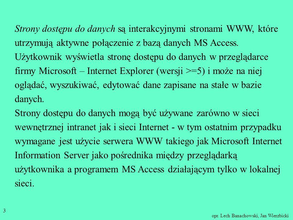 Strony dostępu do danych są interakcyjnymi stronami WWW, które utrzymują aktywne połączenie z bazą danych MS Access. Użytkownik wyświetla stronę dostępu do danych w przeglądarce firmy Microsoft – Internet Explorer (wersji >=5) i może na niej oglądać, wyszukiwać, edytować dane zapisane na stałe w bazie danych.