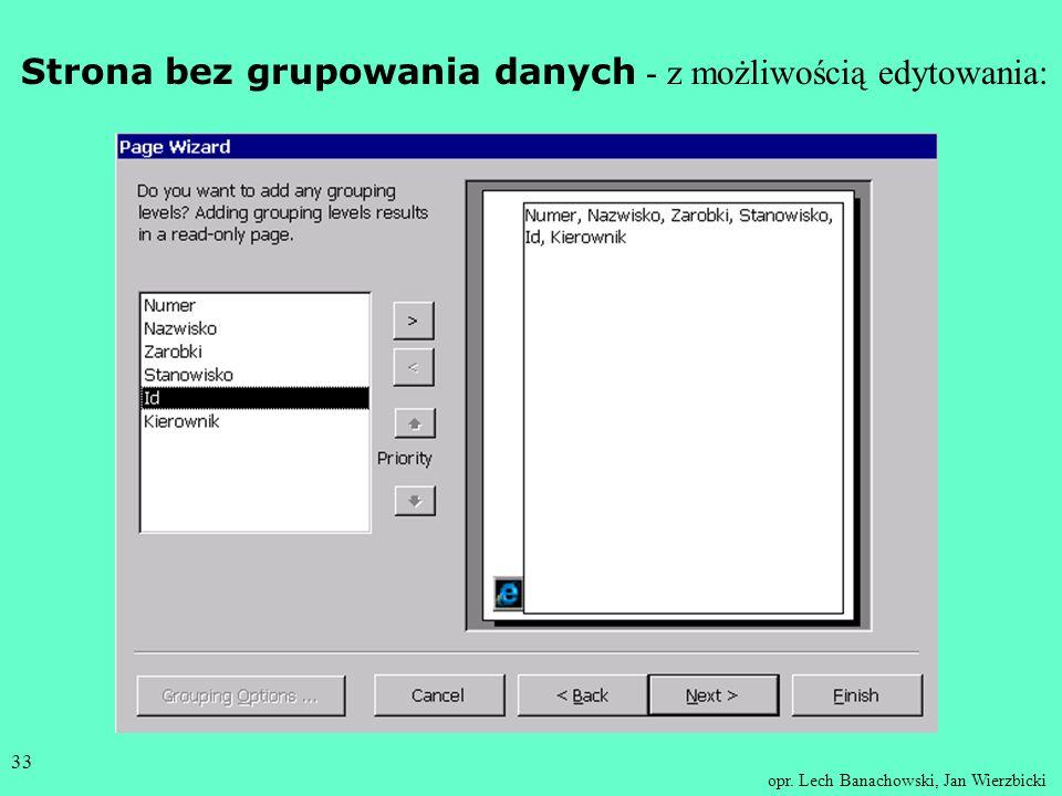 Strona bez grupowania danych - z możliwością edytowania: