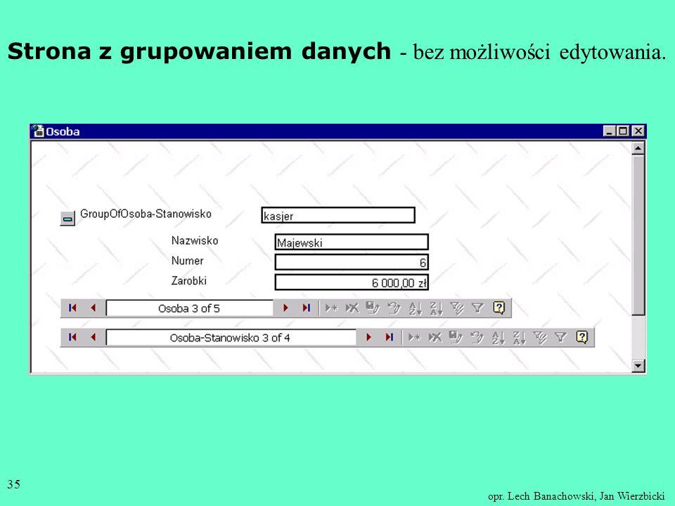 Strona z grupowaniem danych - bez możliwości edytowania.
