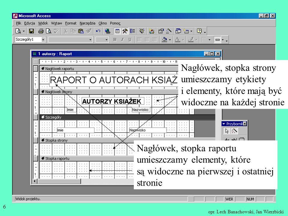 Nagłówek, stopka strony umieszczamy etykiety i elementy, które mają być widoczne na każdej stronie