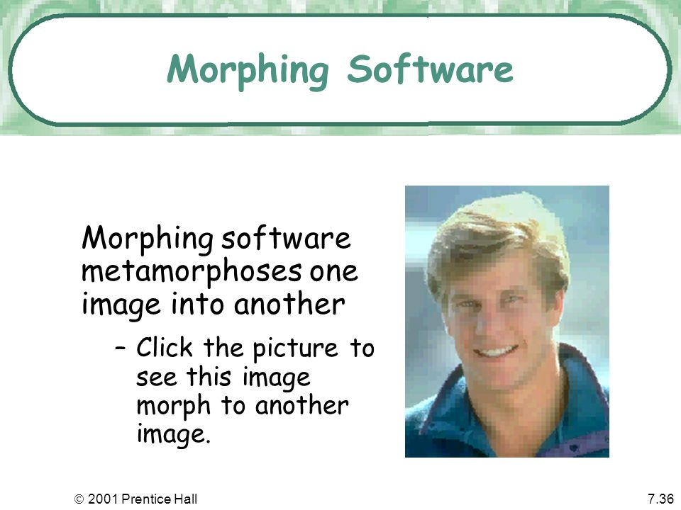 Morphing Software Morphing software metamorphoses one image into another. Click the picture to see this image morph to another image.