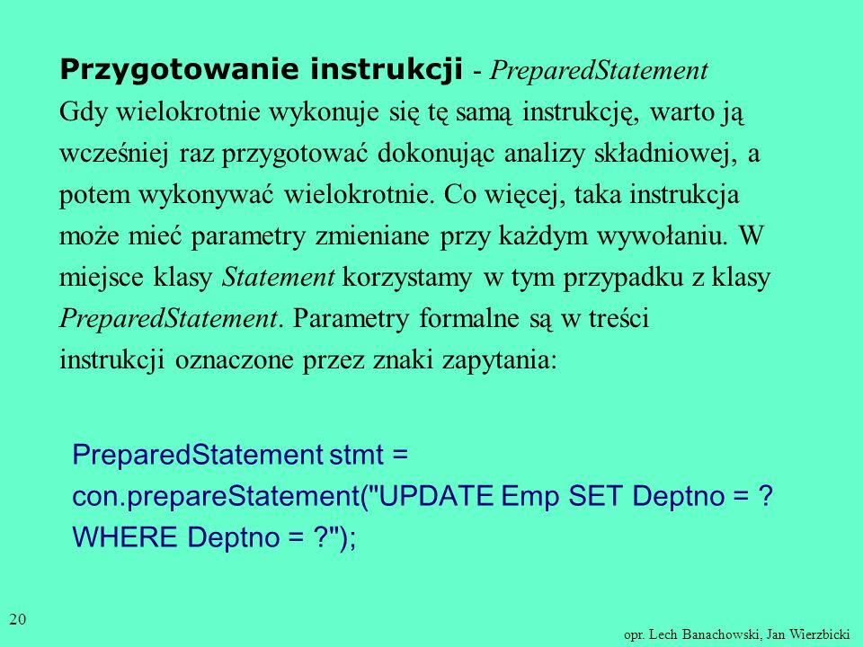 Przygotowanie instrukcji - PreparedStatement