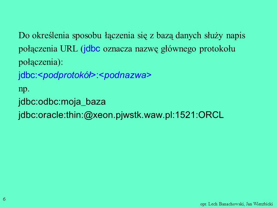 Do określenia sposobu łączenia się z bazą danych służy napis połączenia URL (jdbc oznacza nazwę głównego protokołu połączenia):