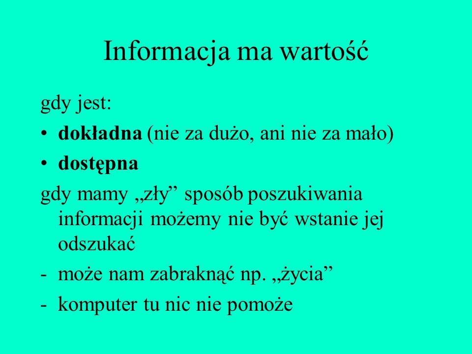 Informacja ma wartość gdy jest: