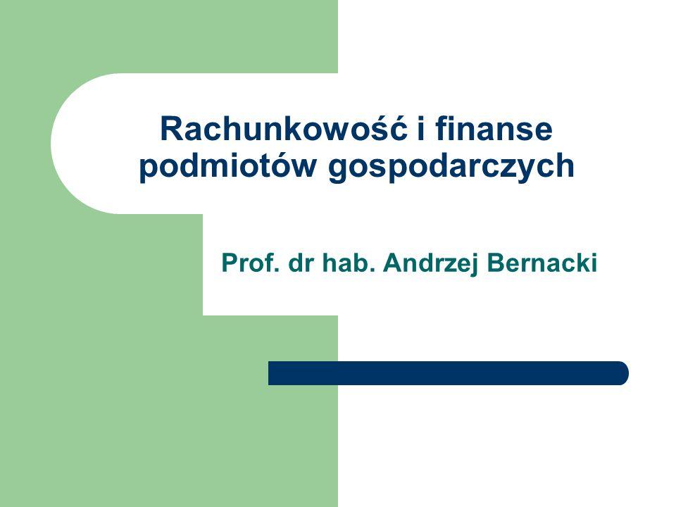 Rachunkowość i finanse podmiotów gospodarczych