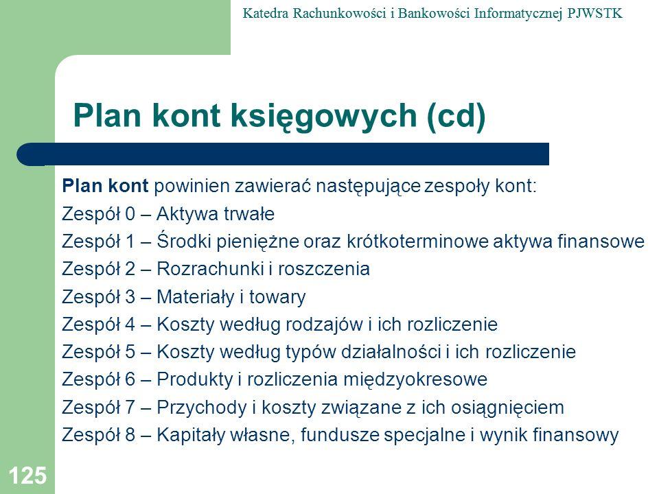 Plan kont księgowych (cd)
