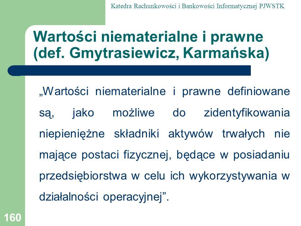 Wartości niematerialne i prawne (def. Gmytrasiewicz, Karmańska)