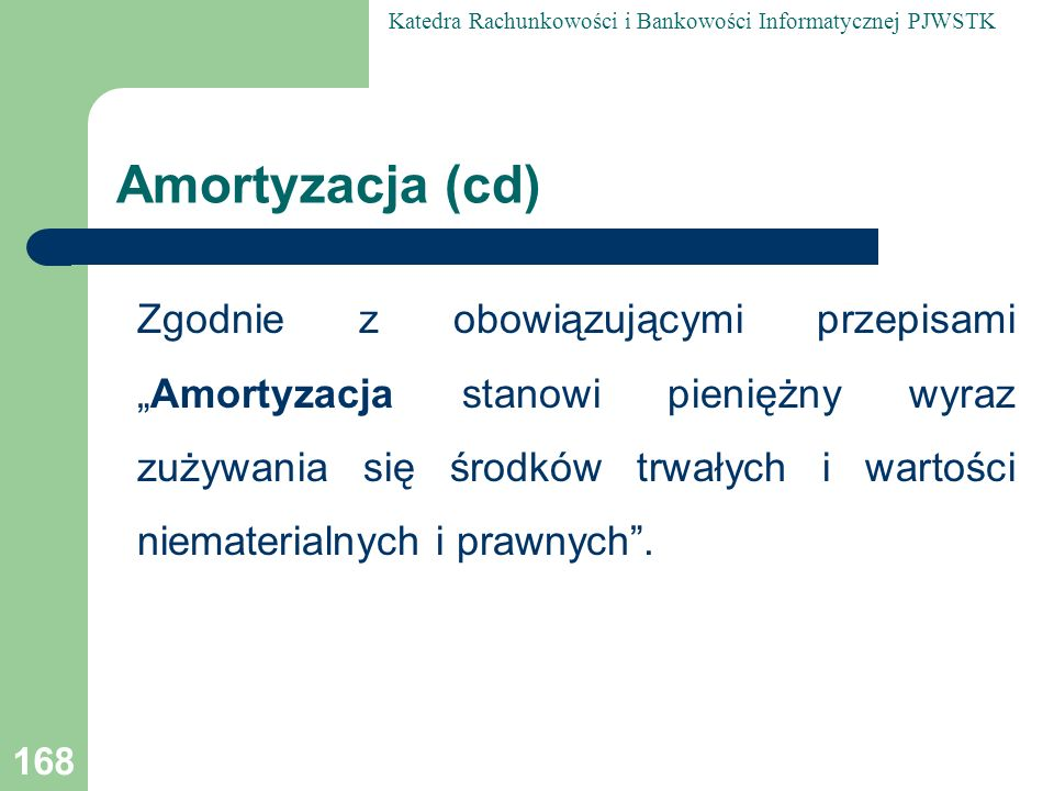 Amortyzacja (cd)