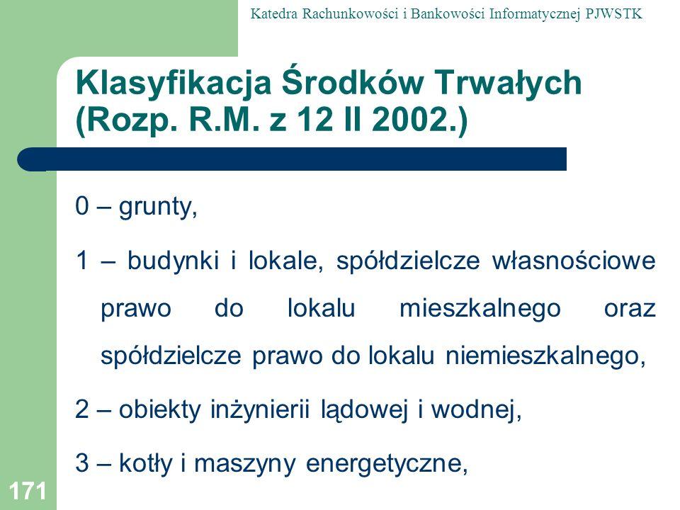 Klasyfikacja Środków Trwałych (Rozp. R.M. z 12 II 2002.)