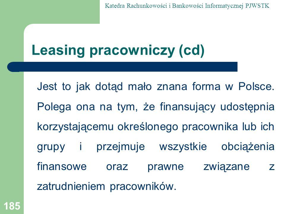 Leasing pracowniczy (cd)