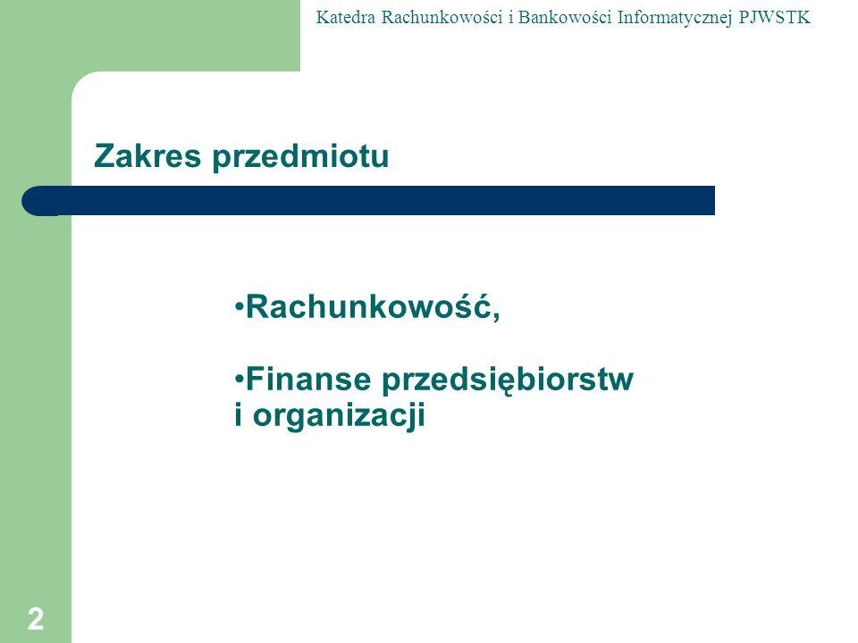 Zakres przedmiotu Rachunkowość, Finanse przedsiębiorstw i organizacji