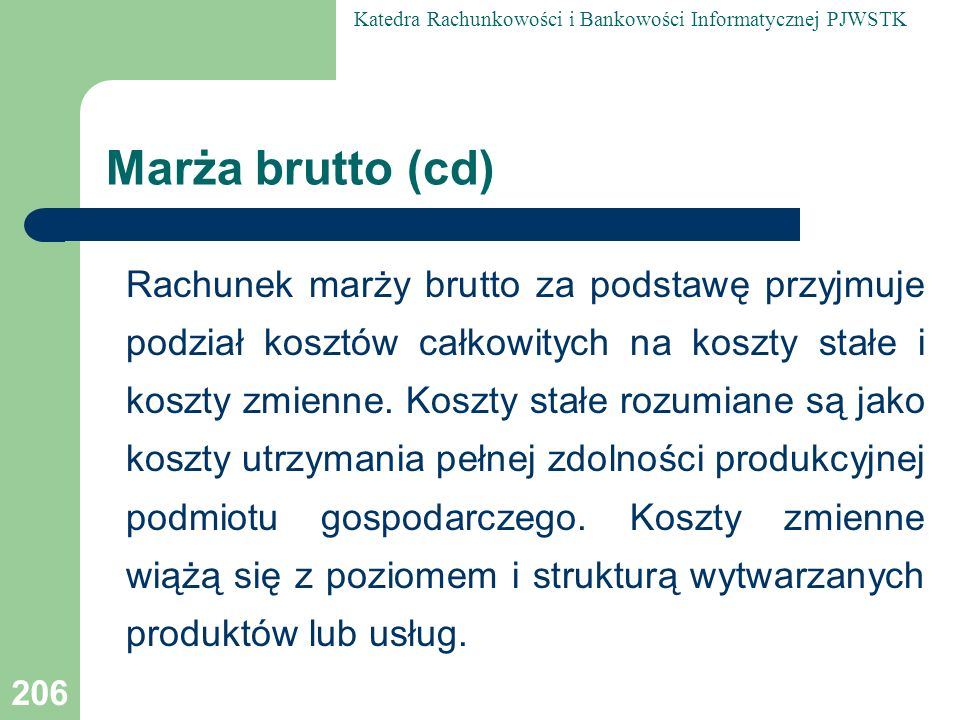 Marża brutto (cd)