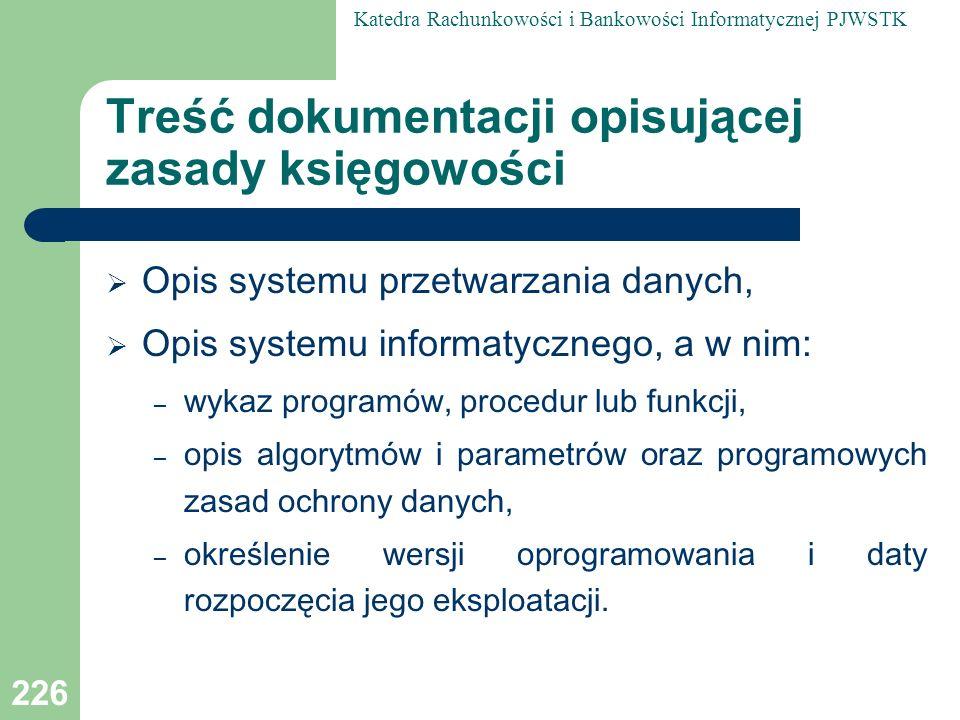 Treść dokumentacji opisującej zasady księgowości