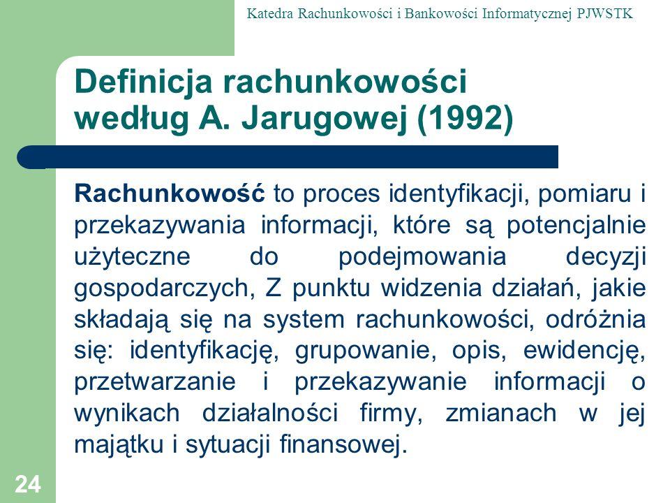 Definicja rachunkowości według A. Jarugowej (1992)