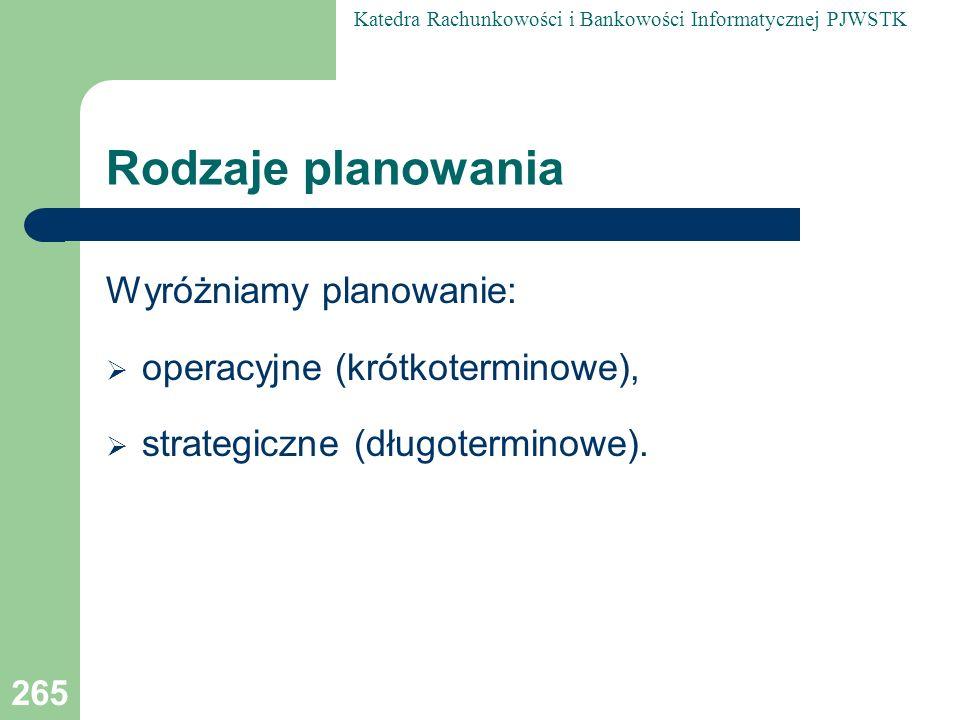 Rodzaje planowania Wyróżniamy planowanie: