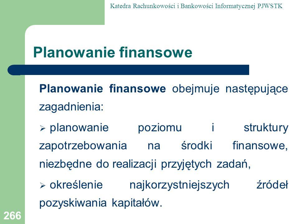 Planowanie finansowe Planowanie finansowe obejmuje następujące zagadnienia: