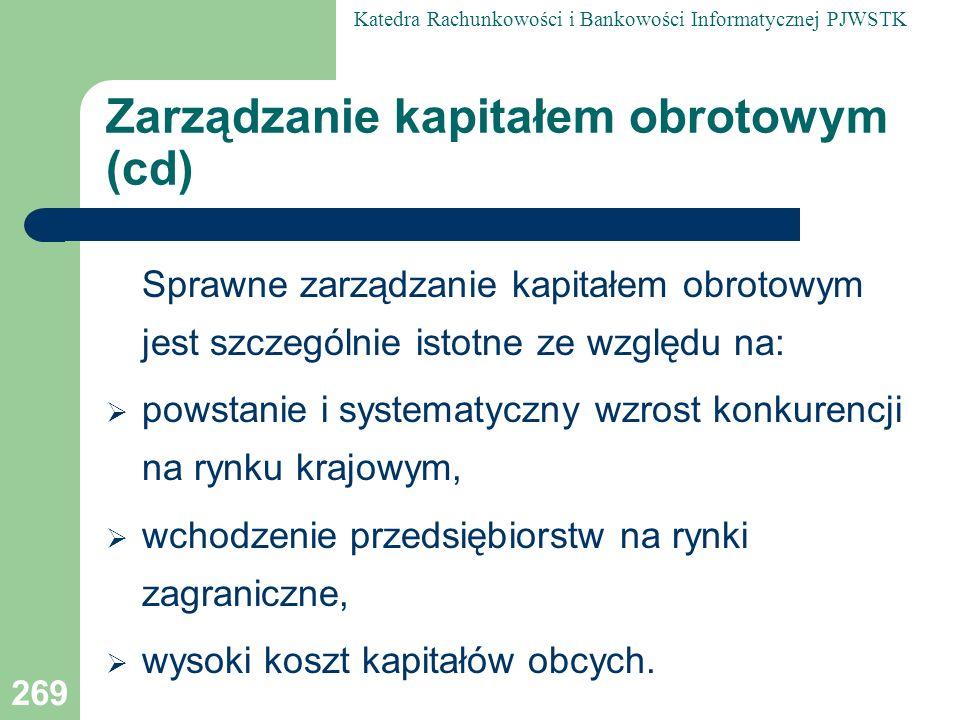 Zarządzanie kapitałem obrotowym (cd)