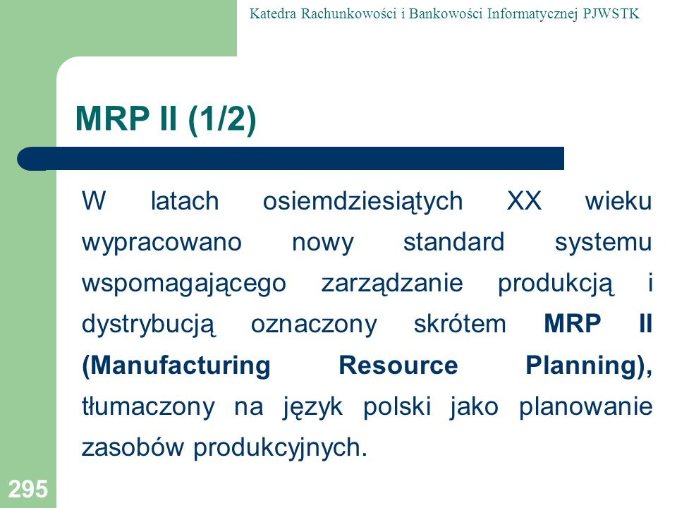MRP II (1/2)