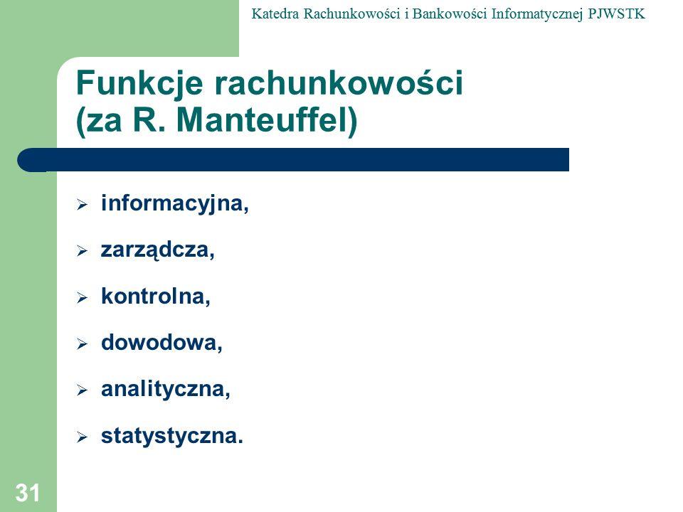 Funkcje rachunkowości (za R. Manteuffel)