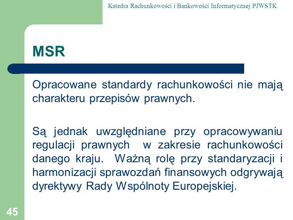 MSR Opracowane standardy rachunkowości nie mają charakteru przepisów prawnych.