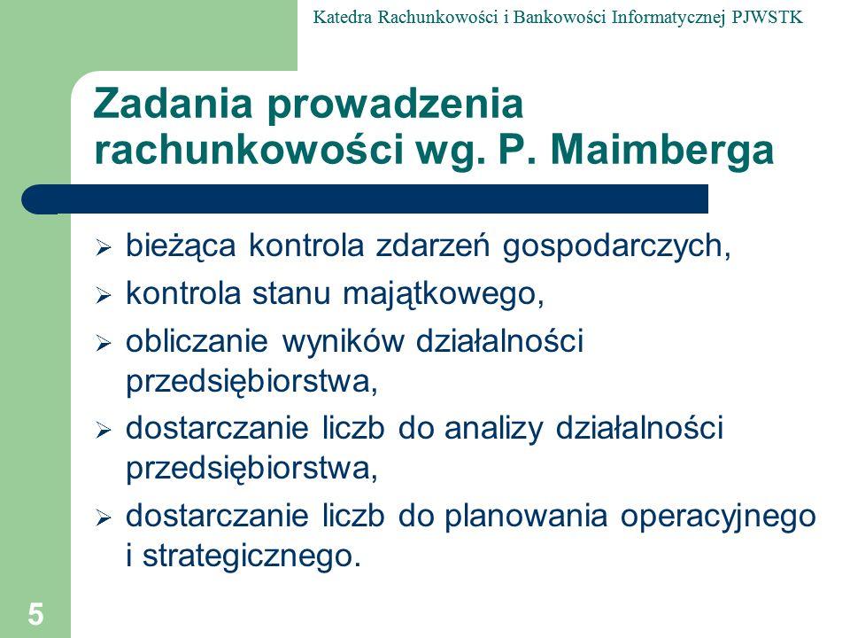Zadania prowadzenia rachunkowości wg. P. Maimberga