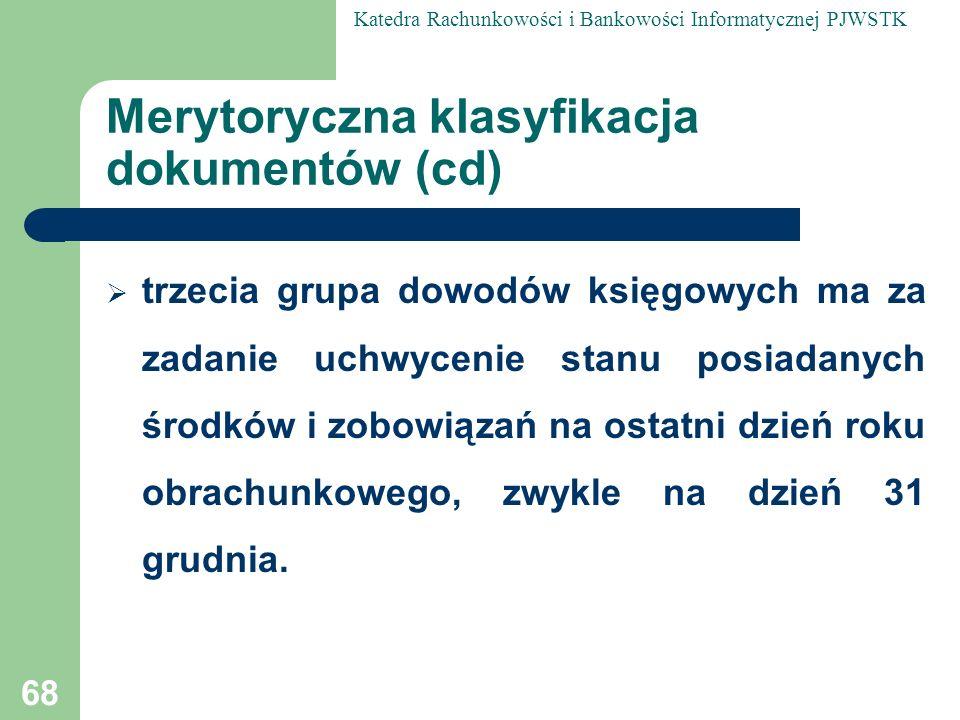 Merytoryczna klasyfikacja dokumentów (cd)