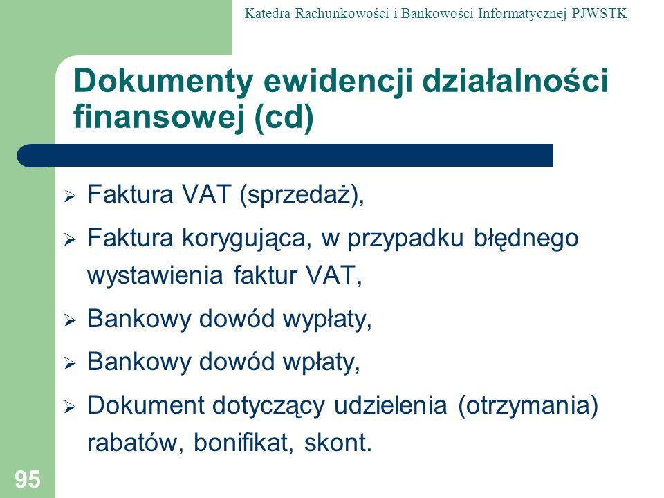 Dokumenty ewidencji działalności finansowej (cd)