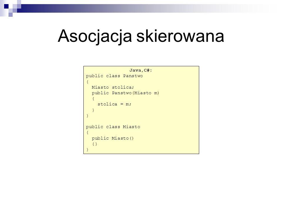 Asocjacja skierowana Java,C#: public class Panstwo { Miasto stolica;