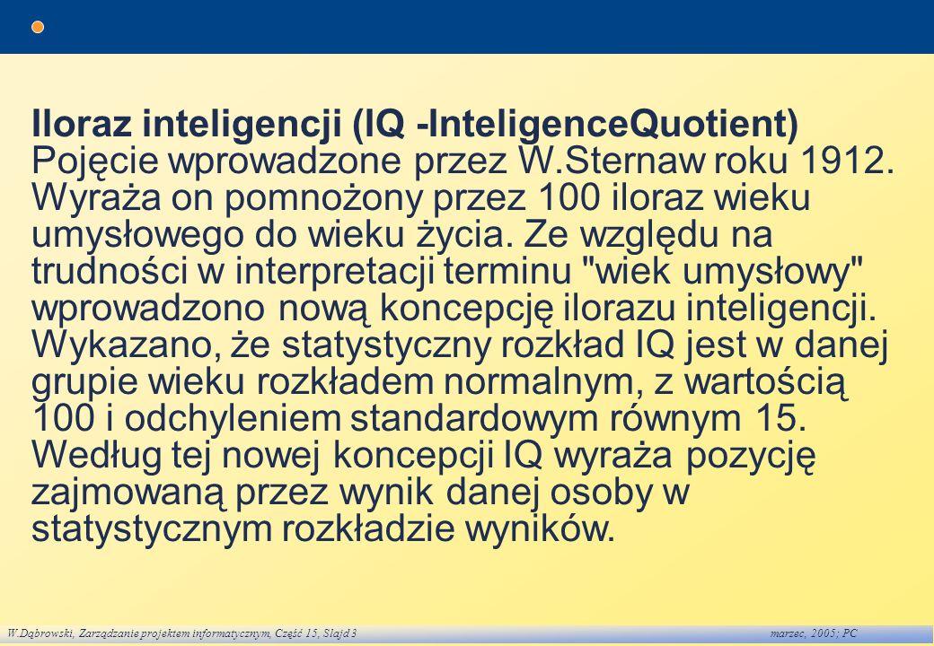 Iloraz inteligencji (IQ -InteligenceQuotient)