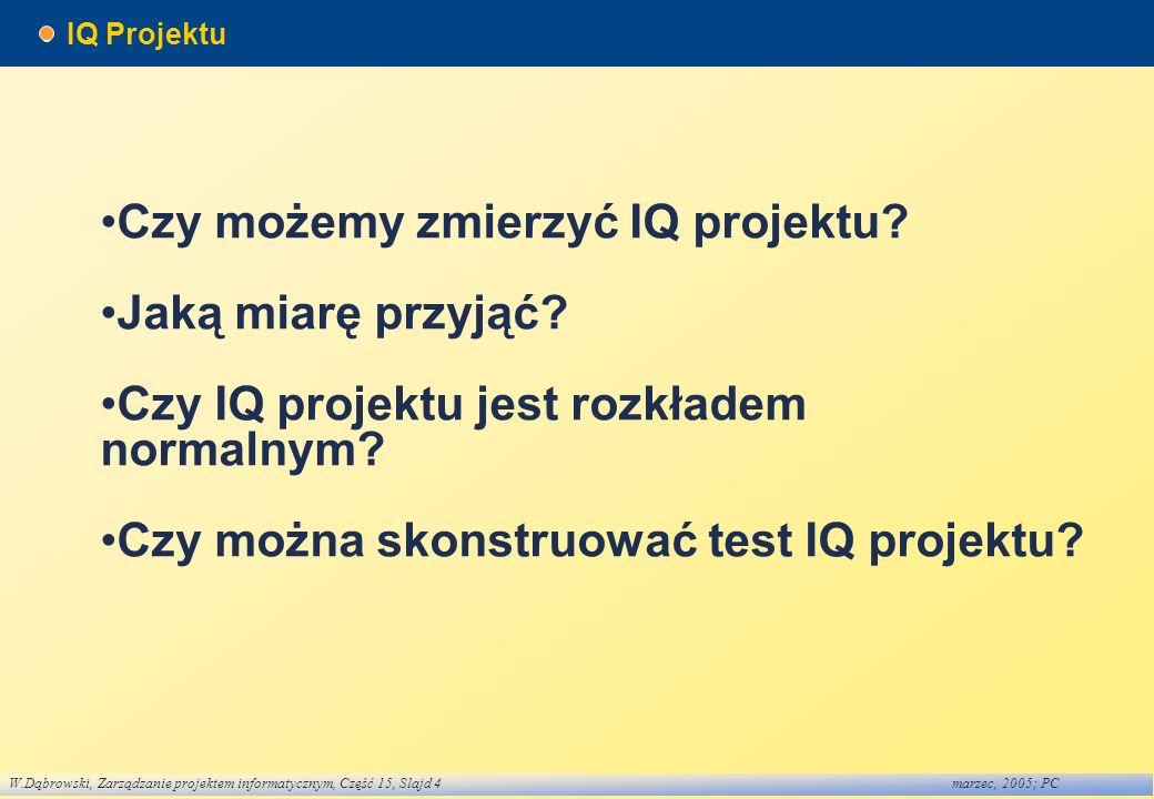 •Czy możemy zmierzyć IQ projektu •Jaką miarę przyjąć