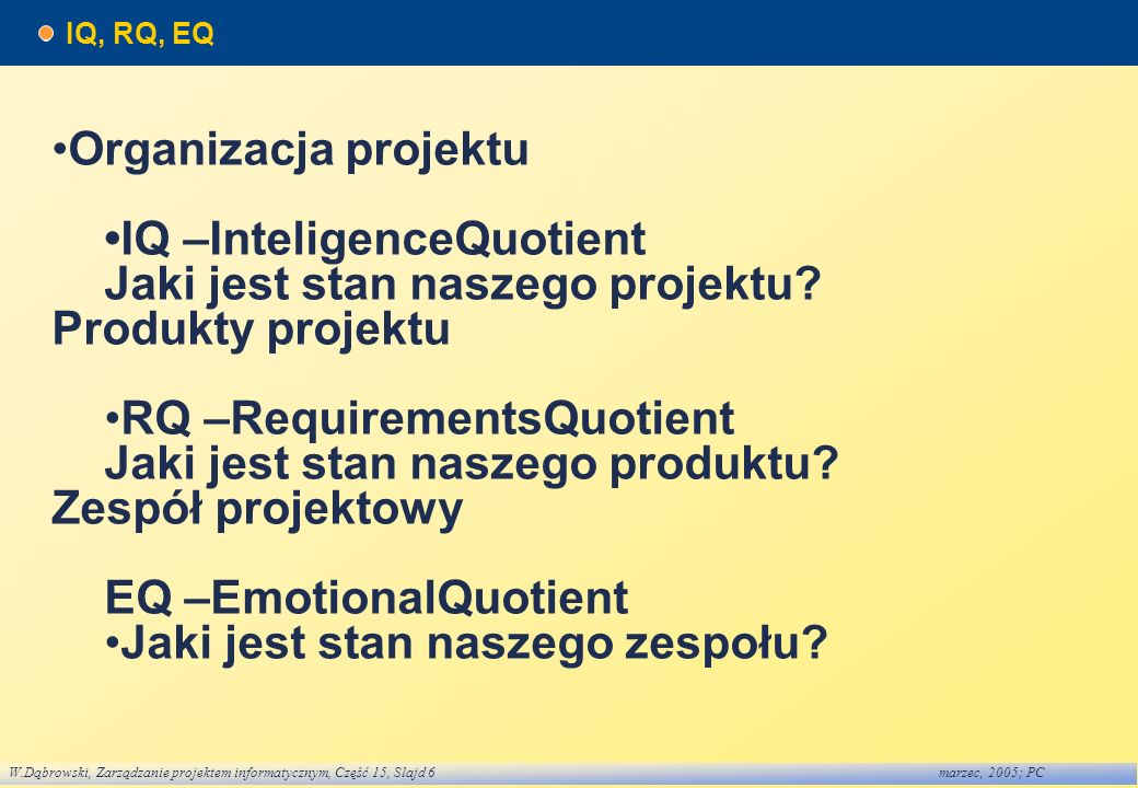 •Organizacja projektu •IQ –InteligenceQuotient
