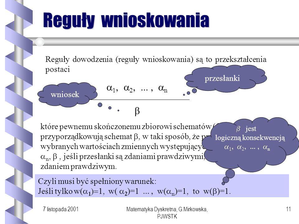 Reguły wnioskowania a1, a2, ... , an b